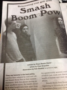 Discorder Magazine article on Smash Boom Pow, photography by Pyra Draculea