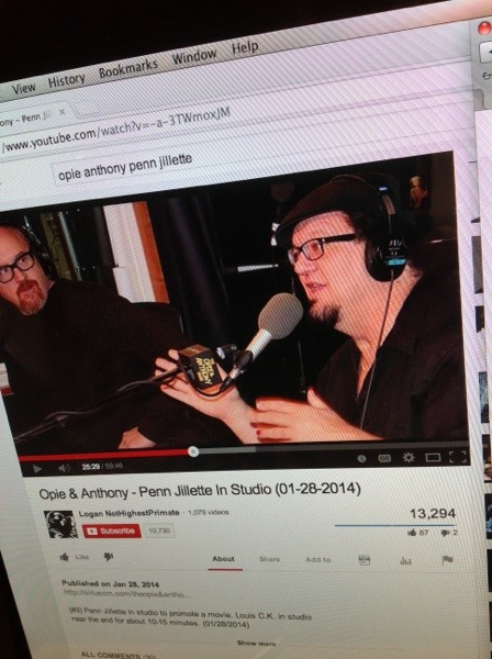 Penn Jilette on Opie & Anthony [YouTube screenshot]